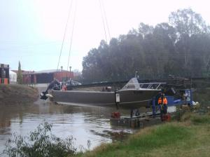 'Maya's Bay' being lowered into the water.