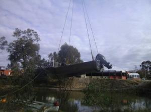 'Maya's Bay' being lowered into the water