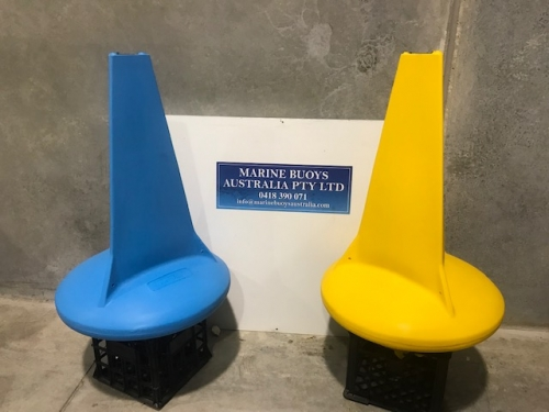 650mm Stand Up Maker Buoy in Blue and Yellow. Sign writing can be added. Many colours available.