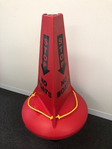"Our red stand up marker buoy with ""Stop No Boats"" signage."